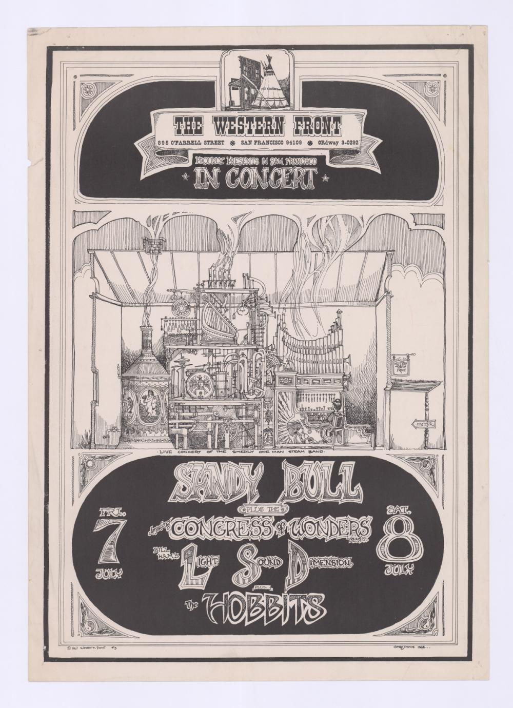 Lot 612: 1967 Sandy Bull at the Western Front Rock Poster