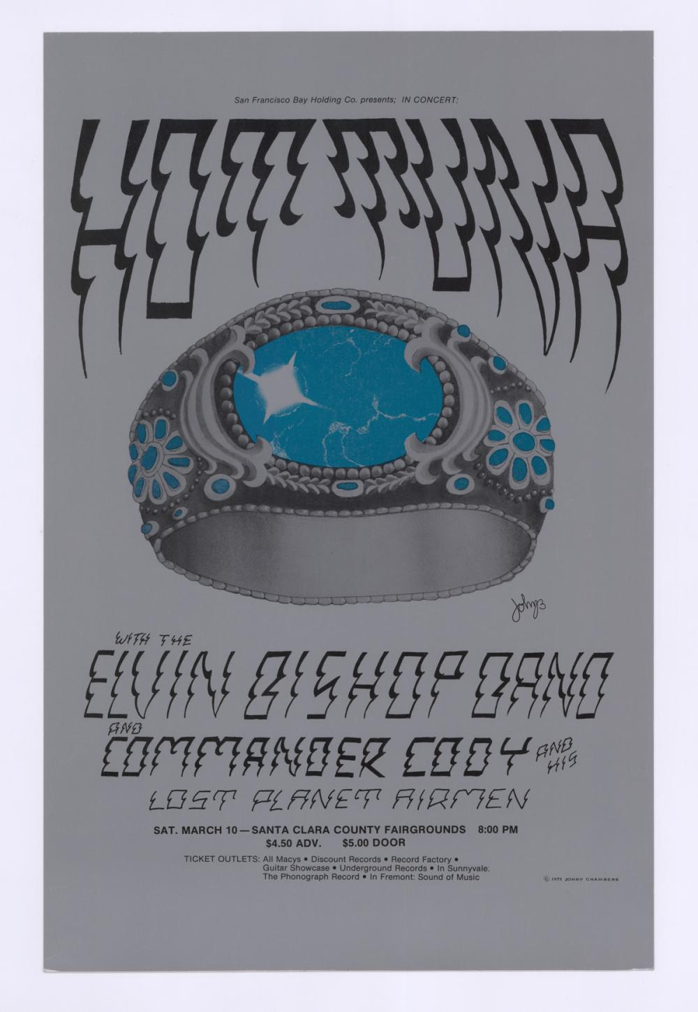 Lot 618: 1973 Hot Tuna Poster by Johnny Chambers