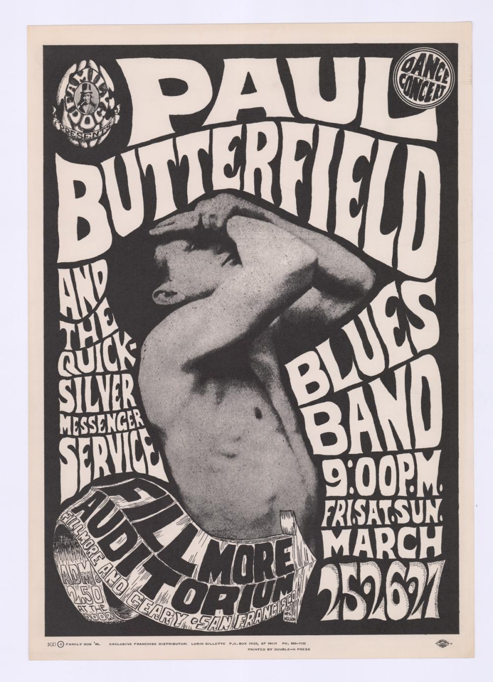Lot 629: Paul Butterfield Fillmore Poster FD-3-RP-2