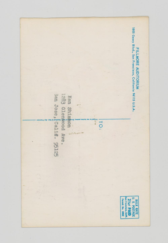 Lot 647: Bill Graham BG-84 Postcard, Half of Double Mailer