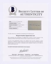 Lot 655: Margaret Hamilton Signed Index Card Beckett LOA