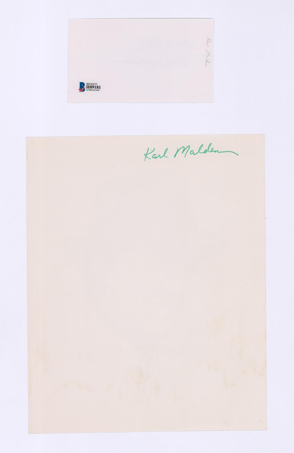 Lot 667: Karl Malden Signed Index Card with Photo of Print