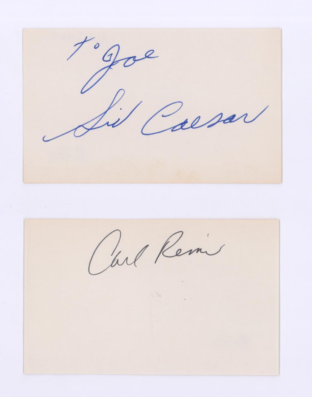 Lot 694: Sid Caesar/Carl Reiner Signed Index Cards COA's