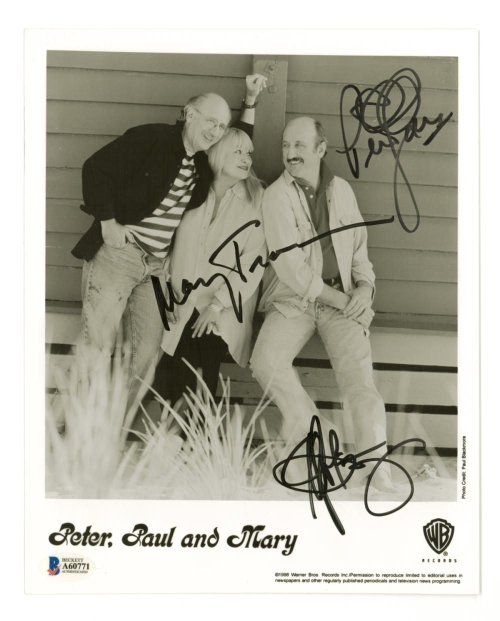 Lot 691: Peter, Paul and Mary Signed 8 x 10 Photo BAS LOA