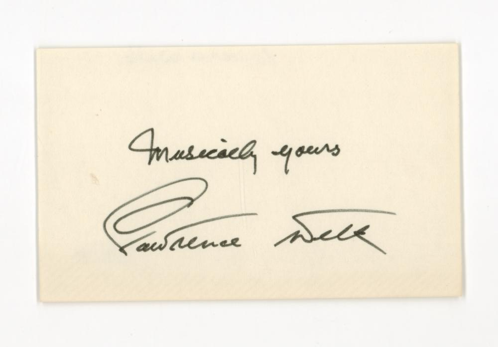 Lot 692: Lawrence Welk Signed Index Card Beckett COA