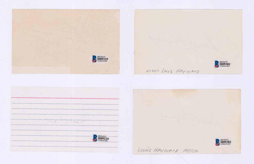 Lot 695: Signed Actor Index Cards (4) Beckett COA's