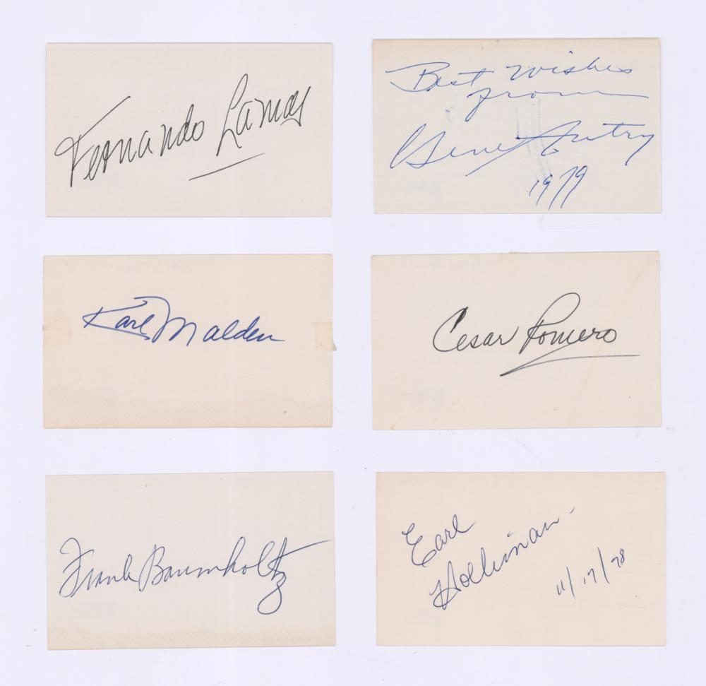 Lot 700: Signed Actor Index Cards (6) Beckett COA's