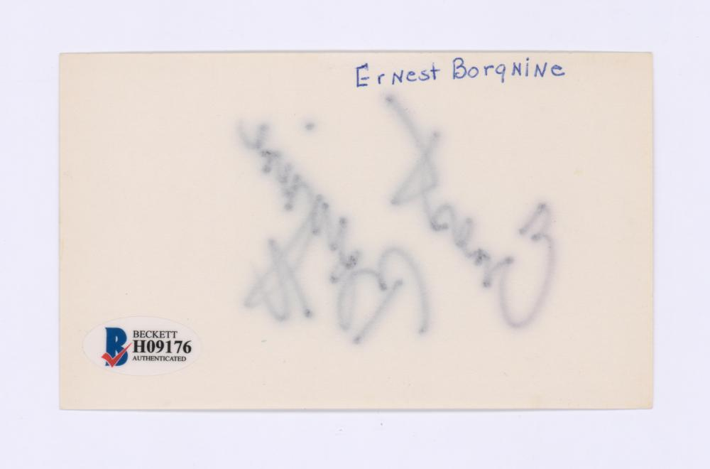 Lot 701: Ernest Borgnine Signed Index Card Beckett COA