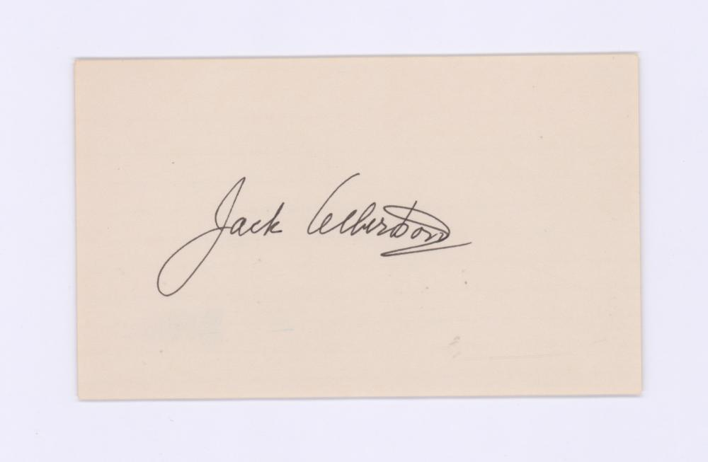 Lot 707: Jack Albertson Signed Index Card Beckett COA