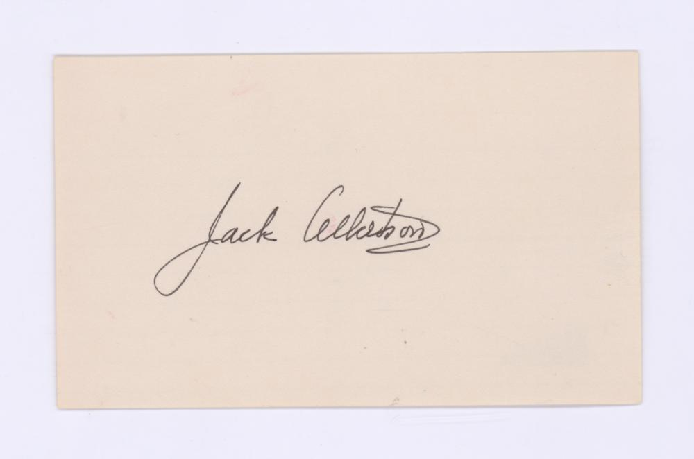 Lot 708: Jack Albertson Signed Index Card Beckett COA