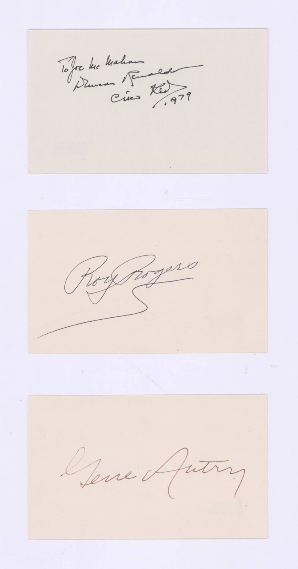 Lot 706: Roy Rogers, Gene Autry, Cisco Kid Signed Cards COA