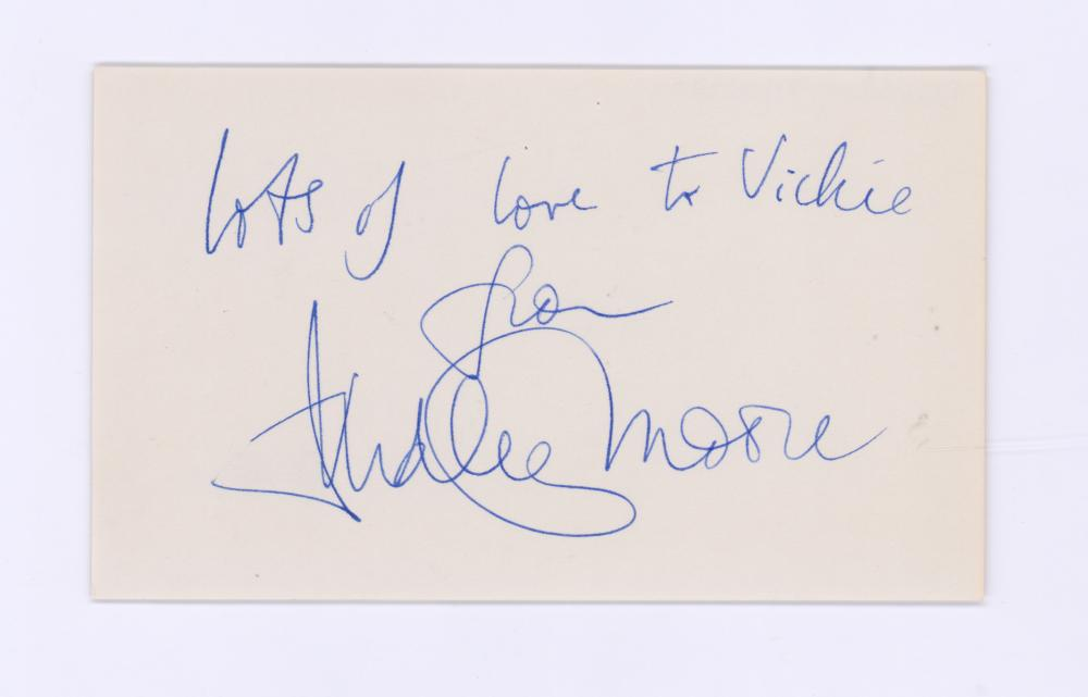 Lot 709: Dudley Moore Signed Index Card BAS COA
