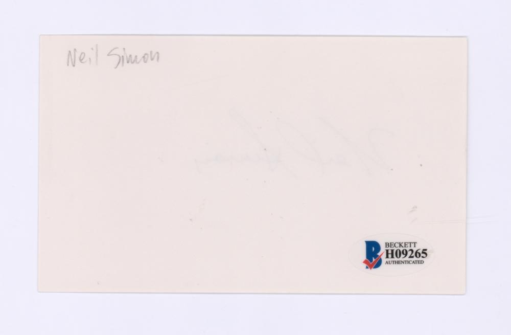 Lot 723: Neil Simon Signed Index Card Beckett COA