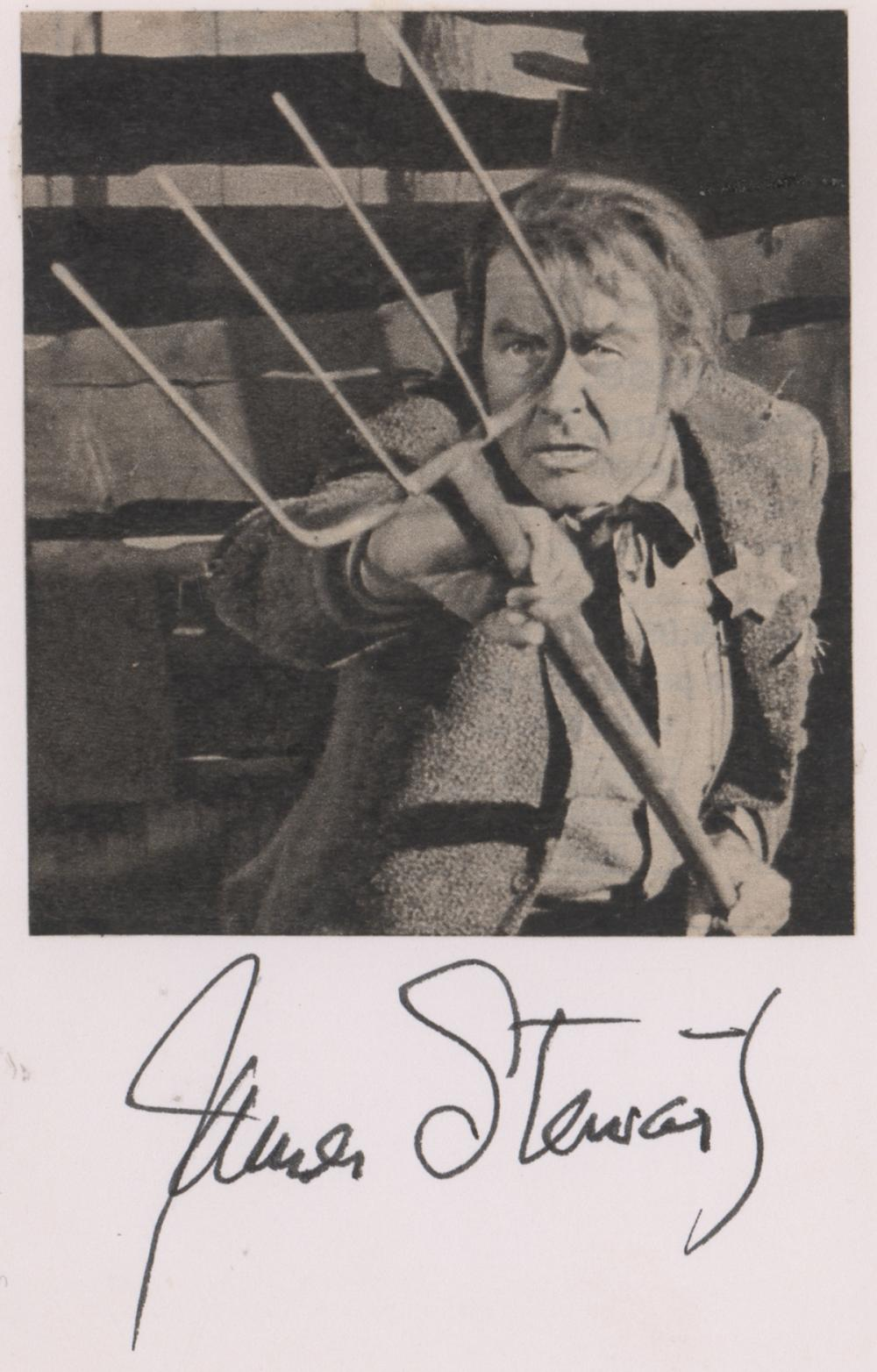 Lot 728: James Stewart Signed Index Card Beckett COA