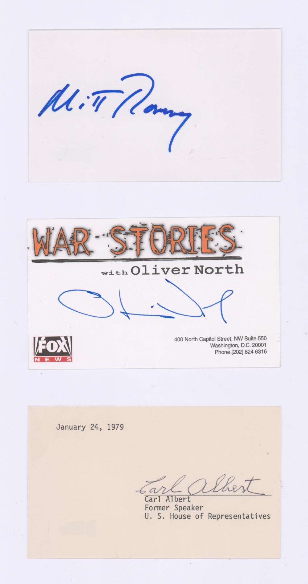 Lot 731: Signed Politicians/Government Index Cards (3) COAs