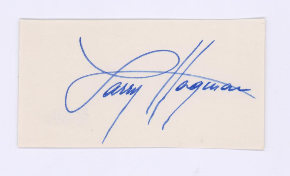 Lot 722: Larry Hagman Signed Index Card Beckett COA
