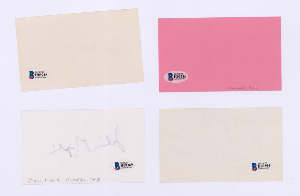Lot 733: Signed Actress Index Cards (4) Beckett COA's
