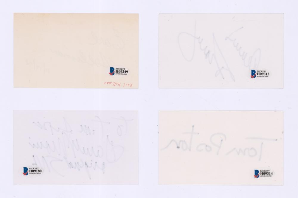 Lot 736: Signed Actor Index Cards (4) Beckett COA's