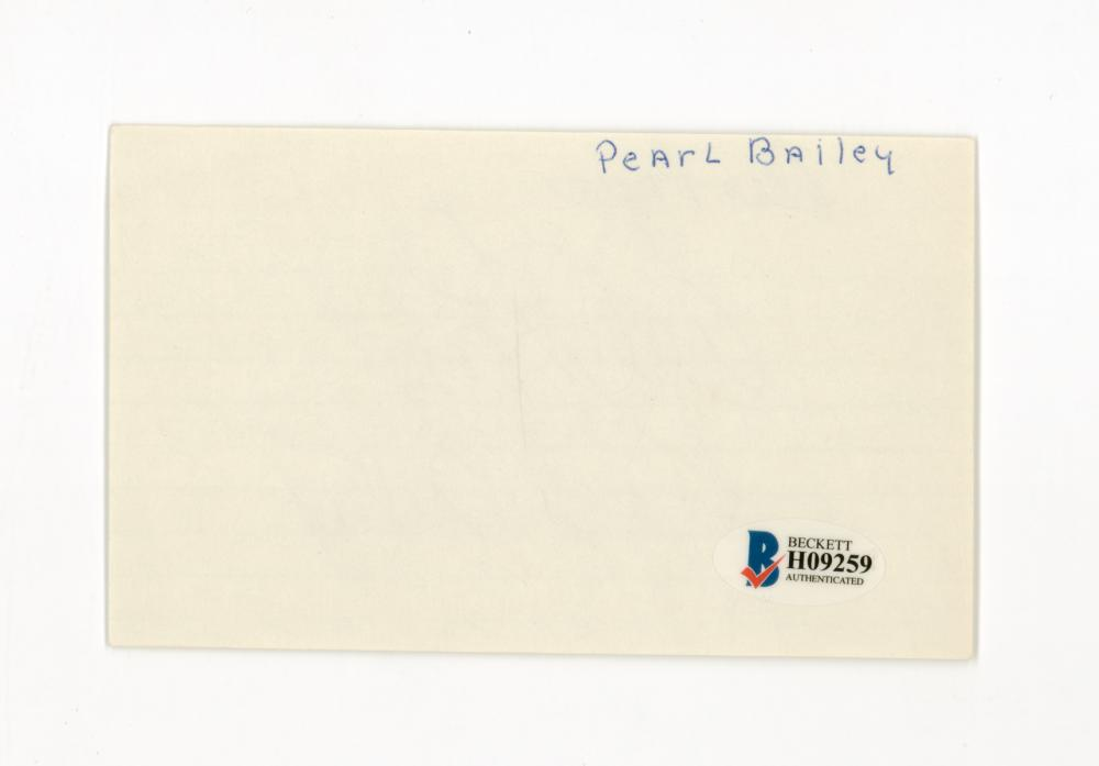 Lot 742: Pearl Bailey Signed Index Card Beckett COA