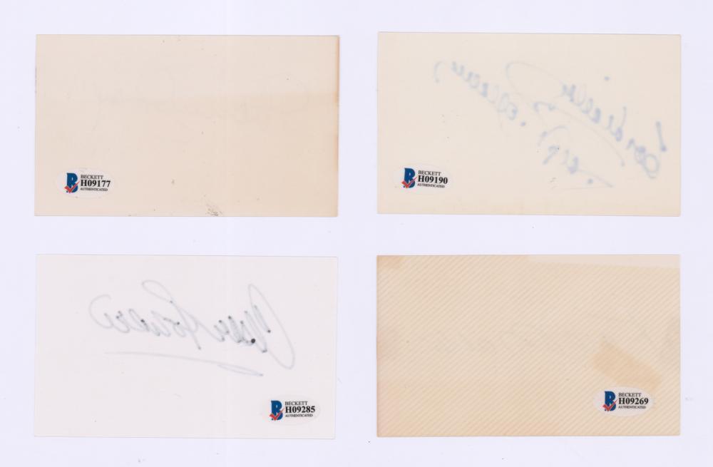 Lot 735: Signed Actor/Actress Index Cards (4) Beckett COA's