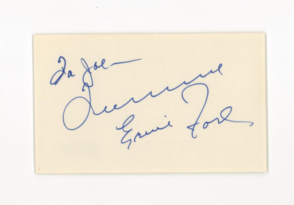 Lot 743: Tennessee Ernie Ford Signed Index Card BAS COA