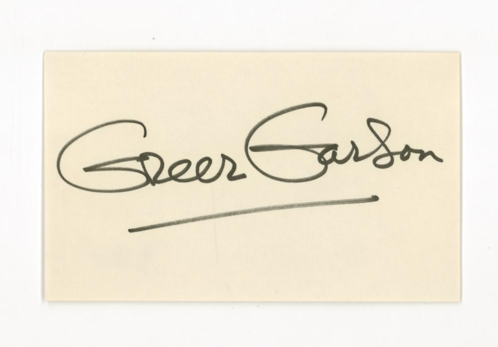 Lot 744: Greer Garson Signed Index Card Beckett COA