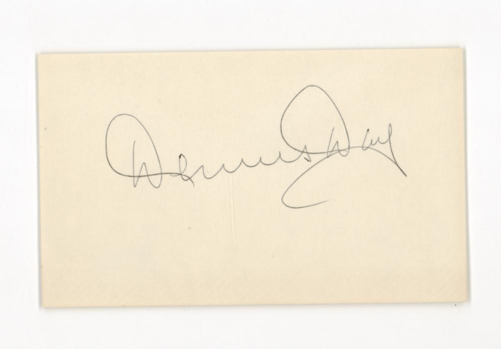 Lot 747: Dennis Day Signed Index Card Beckett COA