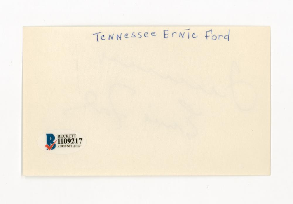 Lot 745: Tennessee Ernie Ford Signed Index Card COA