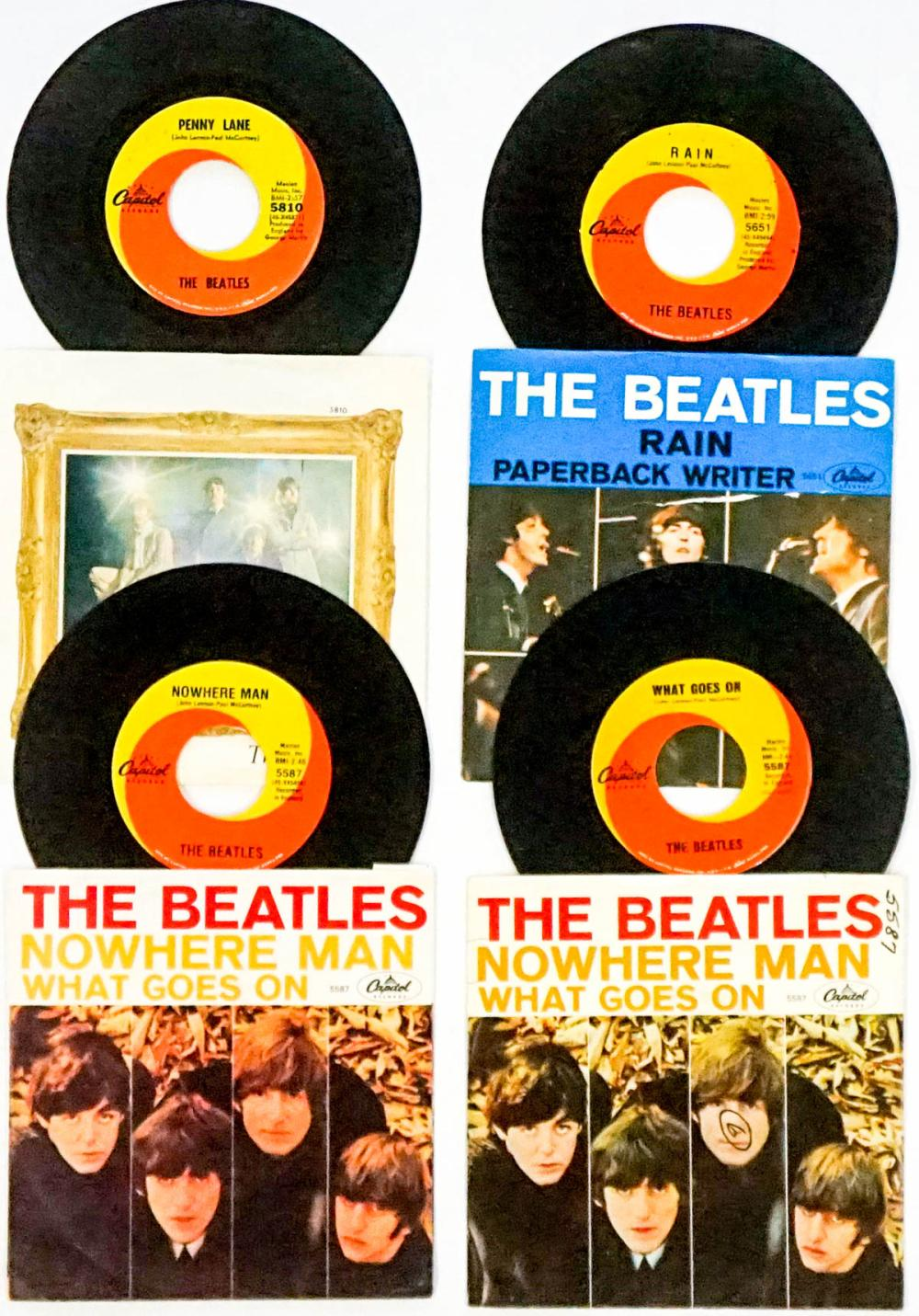 Lot 61: The Beatles (4) 45 RPM Records