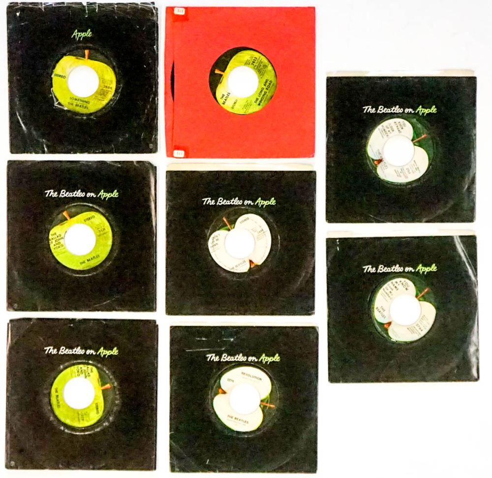 Lot 63: The Beatles on Apple (8) 45 RPM Records
