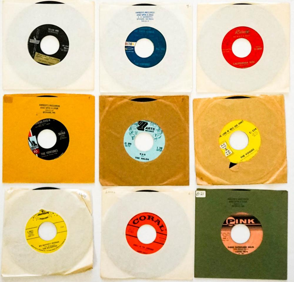 Group of Nine 45 RPM Records; Holly and More