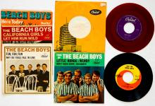 Lot 90: The Beach Boys (2) 45's and (3) Sleeves
