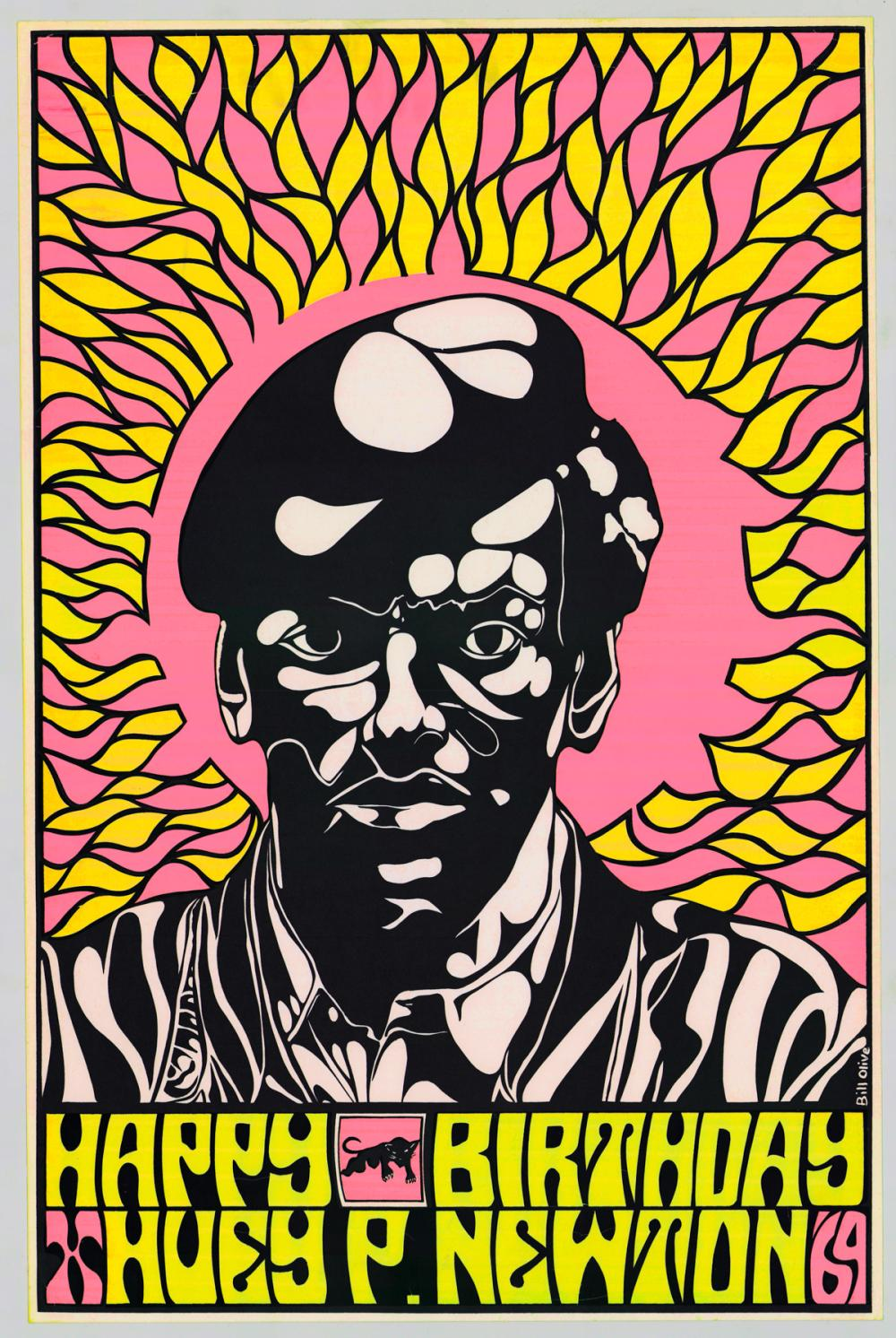 Lot 134E: [Huey Newton] Bill Olive Color Screenprint