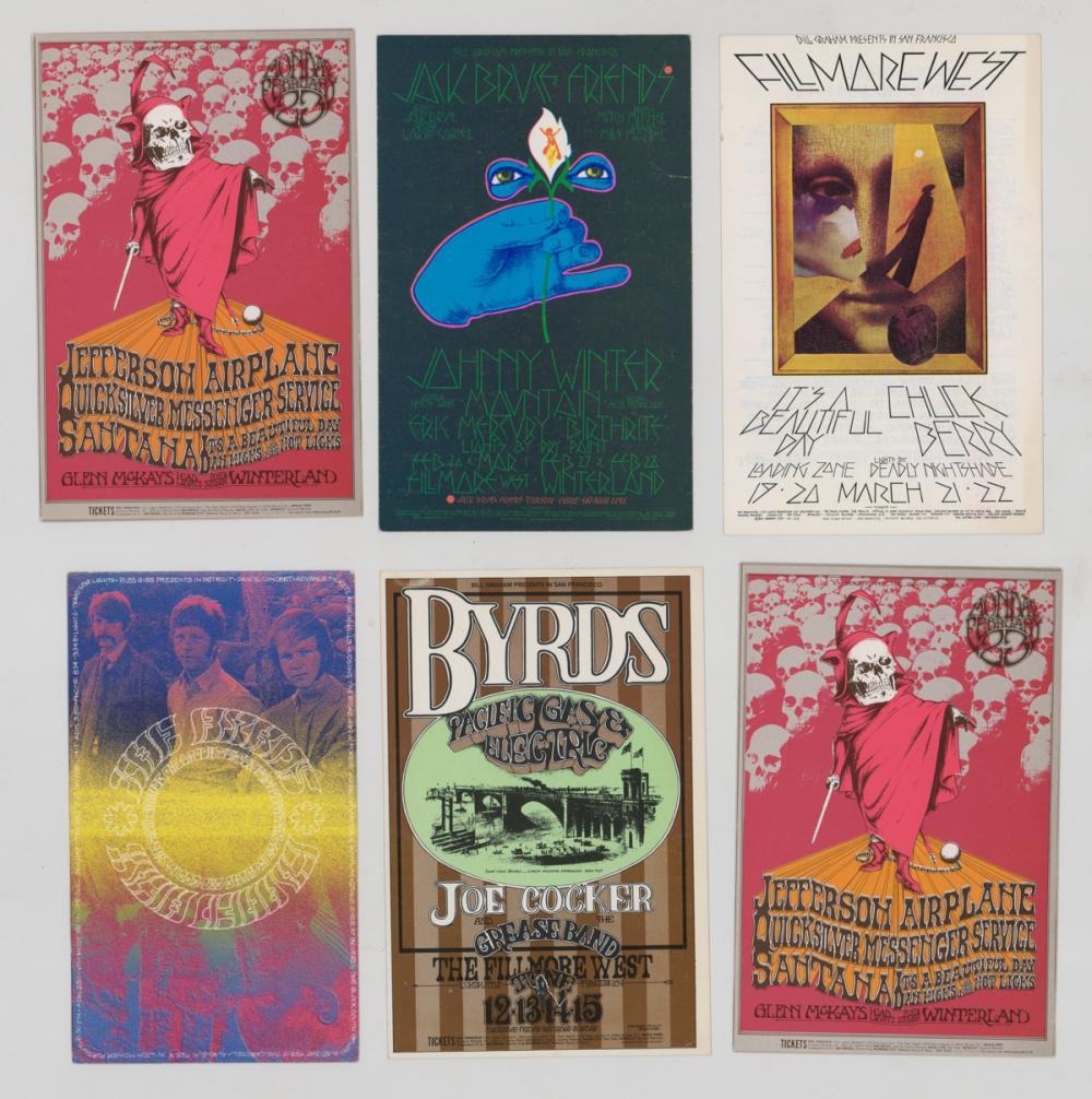 Lot 65: Bill Graham Rock 'n Roll Handbills and Postcard (6)