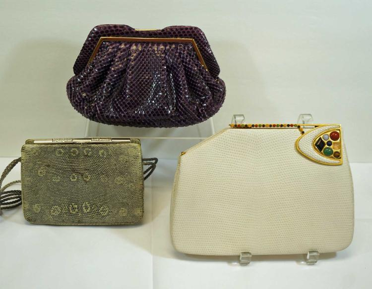 Three Judith Leiber Snakeskin Evening Bags