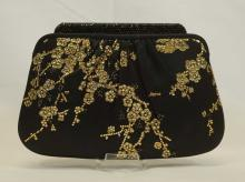 Judith Leiber Black & Gold Floral Evening Bag