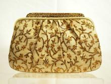 Judith Leiber Silk Gold Floral Bag