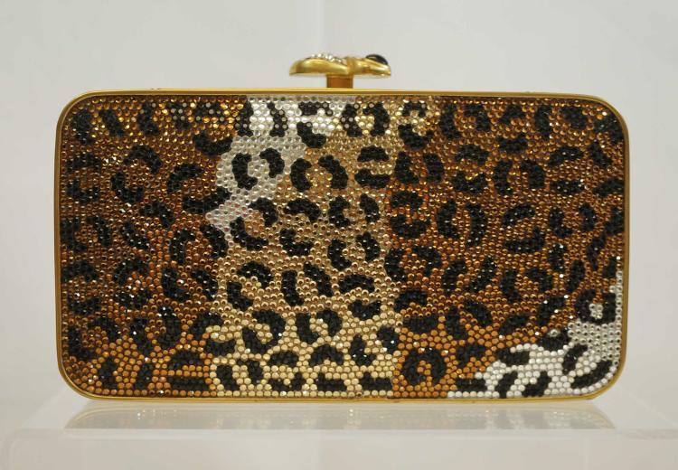 Judith Leiber Full Bead Leopard Design Evening Bag