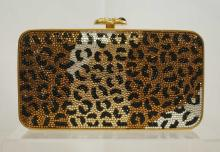 Judith Leiber Full Bead Leopard Design Evening Bag