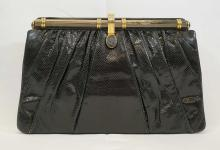 Judith Leiber Black Karung Clutch or Handbag