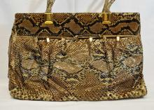 Judith Leiber Large Snakeskin Hand Bag and Clutch