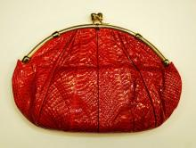 Judith Leiber Large Red Snakeskin Clutch