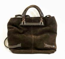 Tardini Crocodile and Suede Handbag or Tote