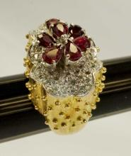 Lady's Fourteen-Karat Gold/Rhodium Ruby Diamond