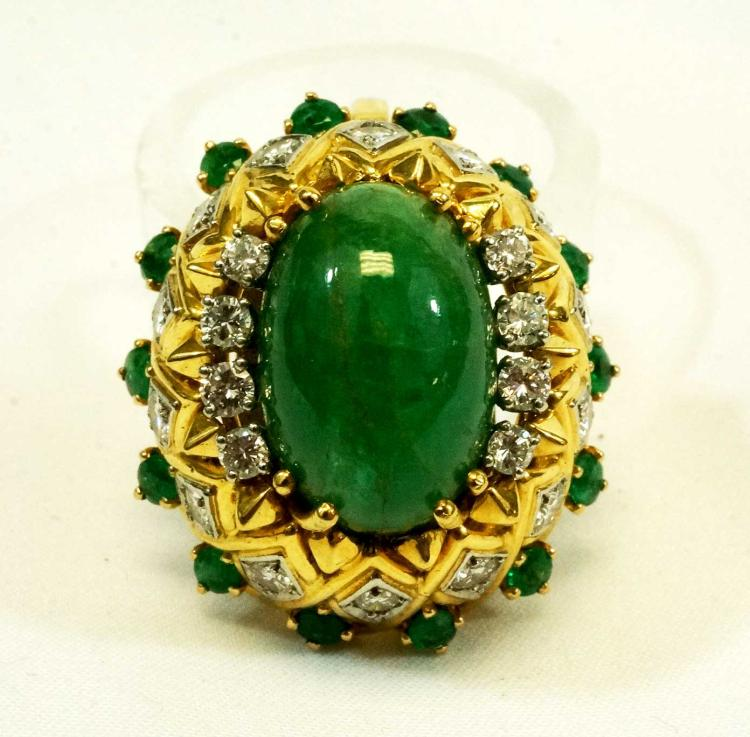 Lady's Eighteen-Karat Gold Emerald Diamond Pendant