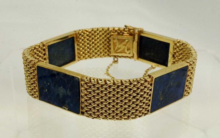 Lady's Fourteen-karat Gold Lapis Bracelet