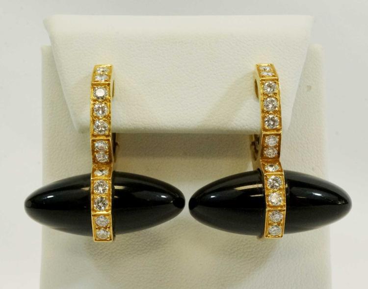 18K Yellow Gold, Chalcedony, Diamond Earrings