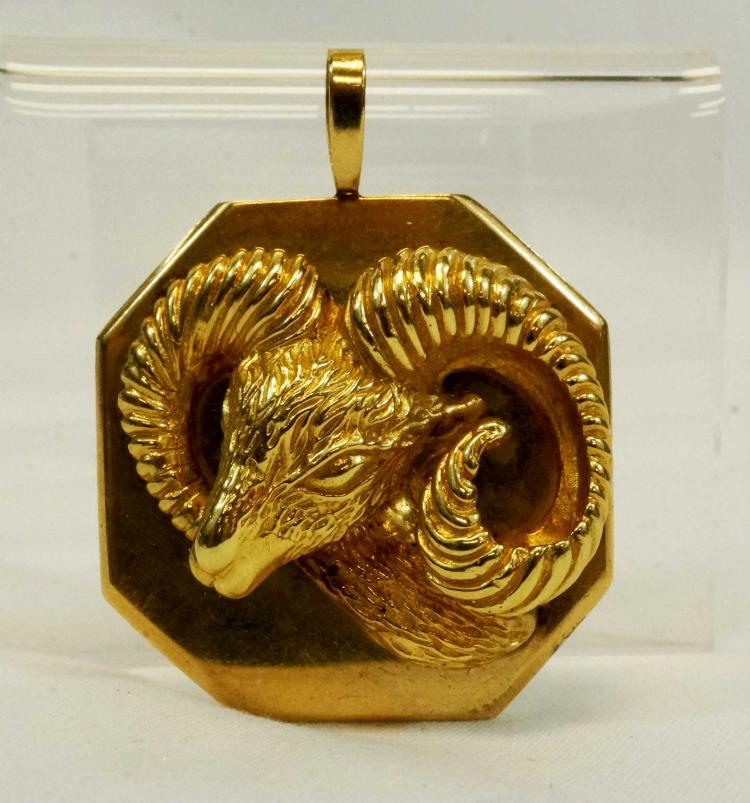 14K Yellow Gold Aries Sign of Zodiac Ram Pendant