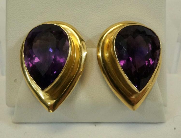 14K Gold Amethyst Tear Drop-Shape Earrings