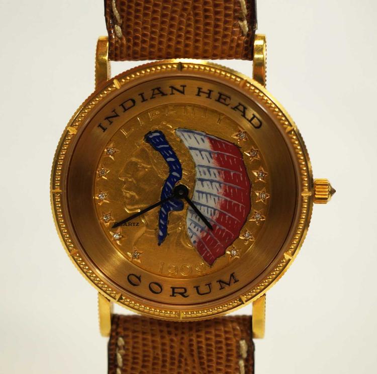 Corum 18K Gold Indian Head Watch